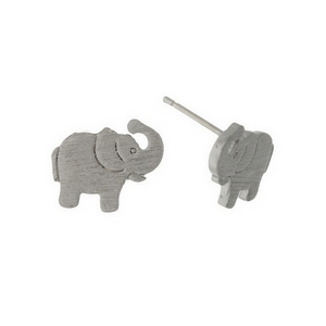 "Dainty silver tone stud earrings in the shape of an elephant. Approximately 1/3"" in length."