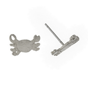 "Dainty, brushed silver tone, crab shaped stud earrings. Approximately 1/3"" in width."