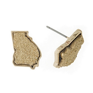 Gold tone stud earring with a faux druzy stone in the shape of Georgia. Approximately 15mm in length.