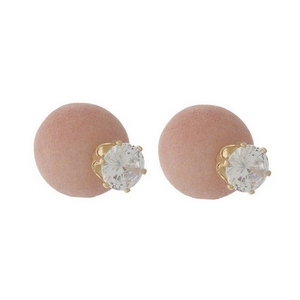 Gold tone double sided earrings featuring a clear rhinestone (8mm) on the front and a pink felt ball on the back (15mm).