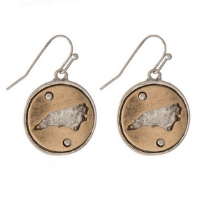 "1"" Two tone fishhook earrings featuring a round 20mm pendant with a cutout of the state of North Carolina."