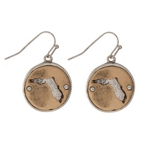 "1"" Two tone fishhook earrings featuring a round 20mm pendant with a cutout of the state of Florida."
