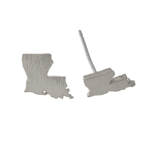 "Dainty brushed silver tone stud earrings in the shape of Louisiana. Approximately 1/4"" in length."