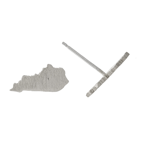 "Dainty brushed silver tone stud earrings in the shape of Kentucky. Approximately 1/4"" in length."
