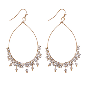 """Dainty gold tone fishhook earrings with an open teardrop shape and gray wire wrapped beads. Approximately 2"""" in length."""
