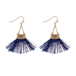 "Gold tone fishhook earrings with a navy blue fan tassel. Approximately 2"" in length."