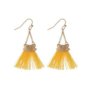 "Gold tone fishhook earrings with a yellow fan tassel. Approximately 2"" in length."