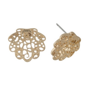 "Gold tone, filigree seashell studs. Approximately 3/4"" in size."