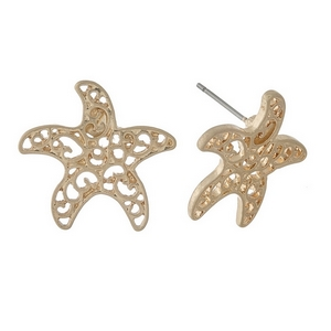"Gold tone, filigree starfish studs. Approximately 1"" in size."