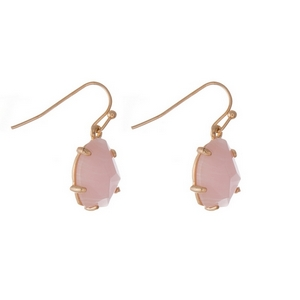 "Dainty gold tone fishhook earrings with a pale pink stone. Approximately 1/2"" in length."