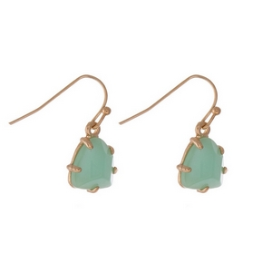 "Dainty gold tone fishhook earrings with a mint green stone. Approximately 1/2"" in length."