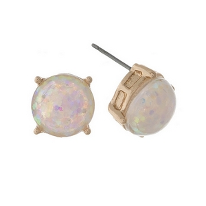 "Gold tone stud earrings with white iridescent glitter. Approximately 1/3"" in diameter."