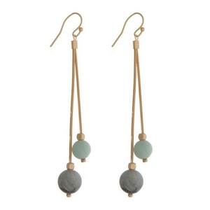 """Gold tone fishhook earrings with two amazonite natural stone beads. Approximately 3"""" in length."""
