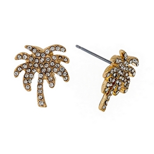 "Gold tone palm tree stud earrings with clear rhinestones. Approximately 3/4"" in size."