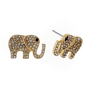 """Gold tone elephant stud earrings with clear rhinestones. Approximately 3/4"""" in size."""