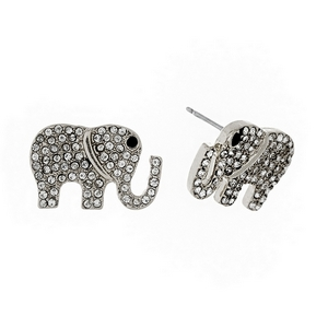 """Silver tone elephant stud earrings with clear rhinestones. Approximately 3/4"""" in size."""