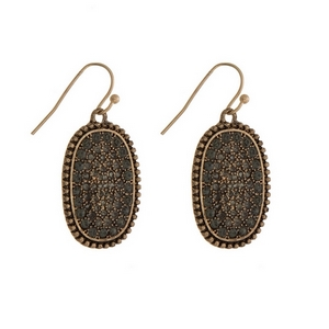 """Burnished gold tone fishhook earrings with a gray pave rhinestone oval shape. Approximately 1"""" in length."""