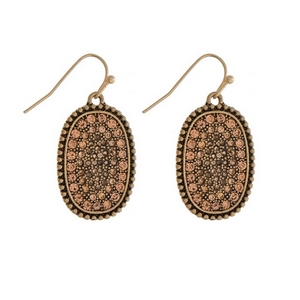 """Burnished gold tone fishhook earrings with a peach pave rhinestone oval shape. Approximately 1"""" in length."""