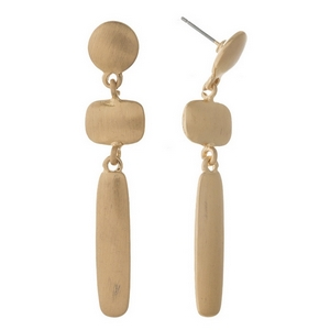 """Brushed gold tone stud earrings stud earrings featuring three geometric shapes. Approximately 2"""" in length."""