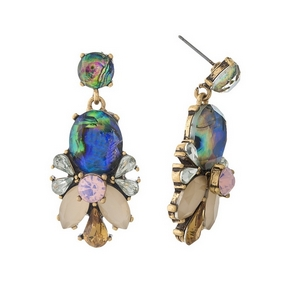"""Gold tone post earrings with abalone, ivory, pink and clear stones and rhinestones. Approximately 1.5"""" in length."""