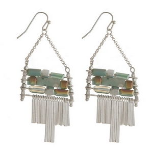 """Silver tone fishhook earrings with mint green and speckled jasper stones and metal fringe. Approximately 2"""" in length."""