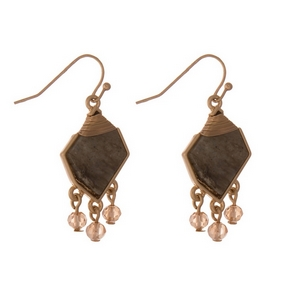 """Gold tone fishhook earrings featuring a labradorite stone and topaz faceted beads. Approximately 1"""" in length."""