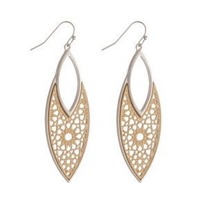 """Silver tone fishhook earrings featuring a two tone filigree oval shape. Approximately 2.5"""" in length."""