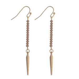 """Dainty gold tone fishhook earrings featuring gray faceted beads and a spike pendant. Approximately 2"""" in length."""