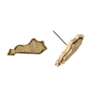 """Gold tone faux druzy stud earrings in the shape of Kentucky. Approximately 1"""" in width."""