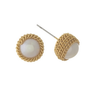 """Gold tone, chain wrapped pearl studs. Approximately 1/3"""" in diameter."""