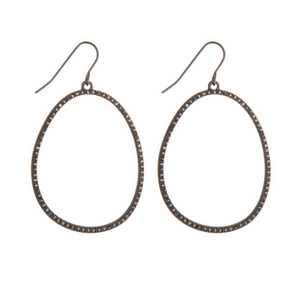 "Dainty hematite tone fishhook earrings featuring an open oval shape and hematite rhinestones. Approximately 1.5"" in length."