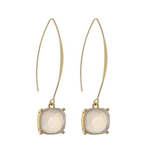 """Gold tone long hook earrings with a mother of pearl rhinestone. Approximately 2.5"""" in length."""