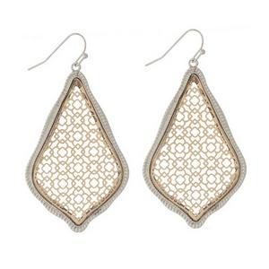 "Silver tone fishhook earrings with a two tone, filigree teardrop shape. Approximately 2"" in length."