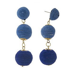 """Light blue to royal blue ombre thread wrapped bead earrings. Approximately 3"""" in length."""