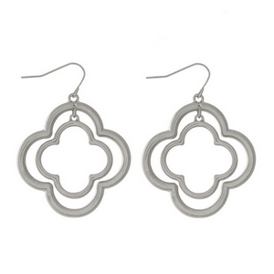 """Silver tone fishhook earrings with two clover shapes. Approximately 1.5"""" in length."""