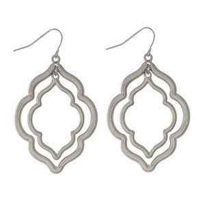 """Silver tone fishhook earrings with two moroccan shapes. Approximately 2"""" in length."""