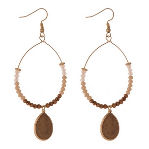 "Gold tone fishhook earrings with brown faceted beads and a teardrop picture jasper natural stone. Approximately 3.5"" in length."