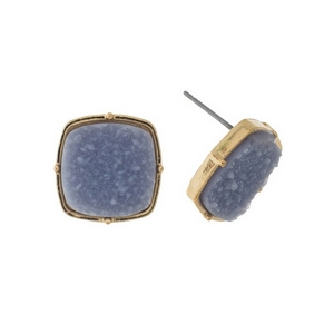 """Gold tone stud earrings with a gray, square shaped faux druzy stone. Approximately 1/2"""" in diameter."""