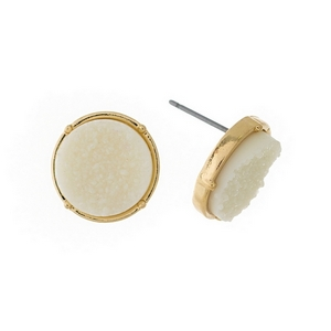 "Gold tone stud earrings with an ivory, circle shaped faux druzy stone. Approximately 1/2"" in diameter."