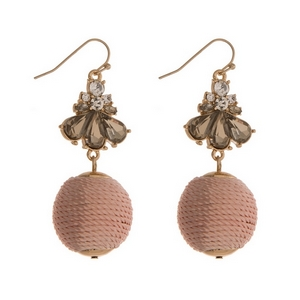 """Gold tone fishhook earrings with gray rhinestones and a peach thread wrapped ball. Approximately 2.25"""" in length."""