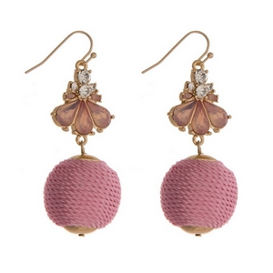 "Gold tone fishhook earrings with pink opal rhinestones and a pink thread wrapped ball. Approximately 2.25"" in length."