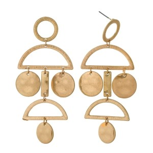 """Gold tone chandelier, post style earrings. Approximately 3"""" in length."""