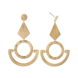 """Gold tone, geometric shaped, post style earrings. Approximately 3"""" in length."""