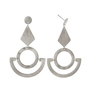 """Silver tone, geometric shaped, post style earrings. Approximately 3"""" in length."""