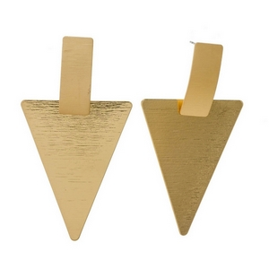 "Gold tone triangle stud earrings with a brushed texture. Approximately 3"" in length."