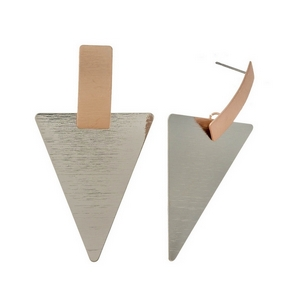 "Silver and rose gold tone triangle stud earrings with a brushed texture. Approximately 3"" in length."