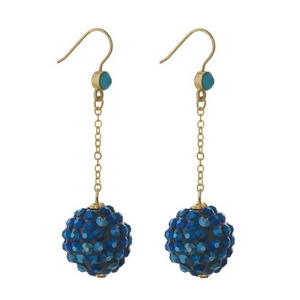 """Gold tone fishhook earrings with a blue rhinestone ball pendant. Approximately 2.25"""" in length."""