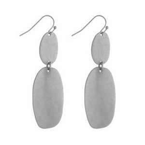 """Silver tone fishhook earrings with two oval shapes and a matte finish. Approximately 2"""" in length."""