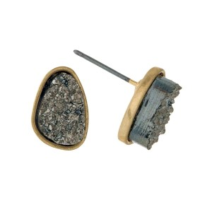 "Gold tone stud earrings with a hematite faux druzy stone. Approximately 1/3"" in length."
