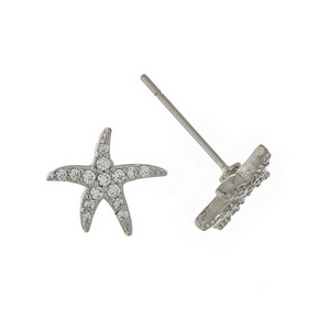 "Silver tone starfish stud earrings. Approximately 1/3"" in diameter."
